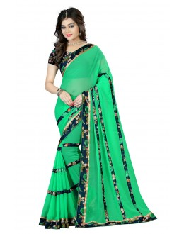 Party Wear Green Georgette Saree  - OpoGreenPatta