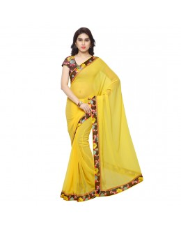 Ethnic Wear Yellow Georgette Saree  - OpoYellow