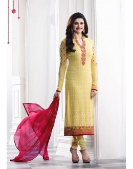 Prachi Desai In Yellow Georgette Salwar Suit  - Prachi325285