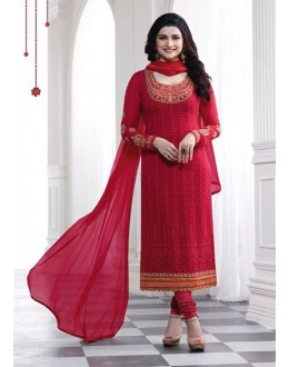 Prachi Desai In Red Georgette Salwar Suit  - Prachi325290