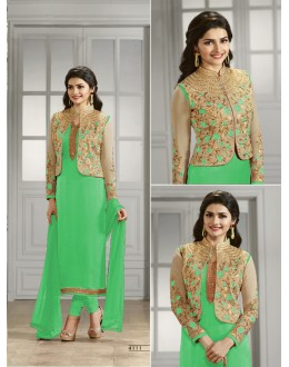 Prachi Desai In Light Green Georgette Salwar Suit  - Prachi4111-F