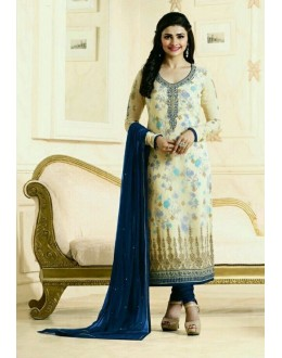 Prachi Desai In Cream Georgette Salwar Suit  - Prachi315193