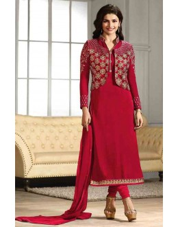 Prachi Desai In Red Georgette Salwar Suit  - Prachi4115-B