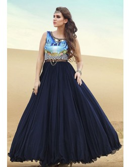 Fancy Dark Blue Silk Gown - Prestige1017