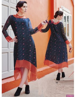 Party Wear Readymade Blue Georgette Kurti - Pretty2002