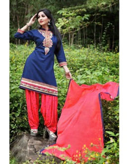 Festival Wear Blue Cotton Patiyala Suit  - PunjabiKudi1001