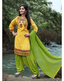 Ethnic Wear Yellow Cotton Patiyala Suit  - PunjabiKudi1002