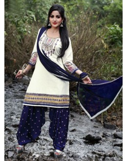 Office Wear White Cotton Patiyala Suit  - PunjabiKudi1003