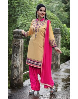 Festival Wear Cream Cotton Patiyala Suit  - PunjabiKudi1005