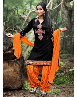 Party Wear Black Cotton Patiyala Suit  - PunjabiKudi1006