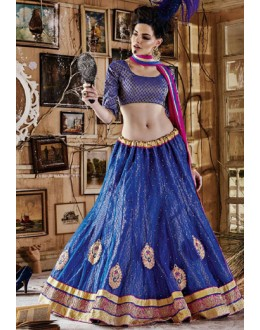 Traditional Blue & Pink Square Net Lehenga Choli - QUEEN4387-A