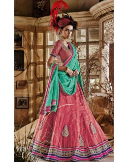 Traditional Pink & Sky Blue Square Net Lehenga Choli - QUEEN4388-A
