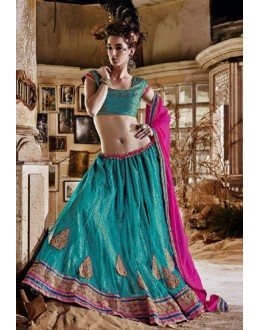 Ethnic Wear Sea Green Square Net Lehenga Choli - QUEEN4388-B