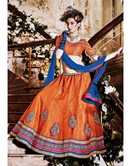 Traditional Orange Square Net Lehenga Choli - QUEEN4389-B