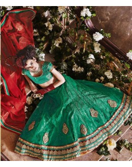 Wedding Wear Green Square Net Lehenga Choli - QUEEN4390-A