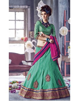 Festival Wear Green Square Net Lehenga Choli - QUEEN4391-A