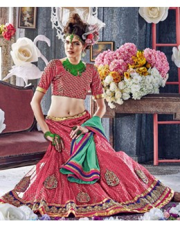 Designer Red Square Net Lehenga Choli - QUEEN4392-A