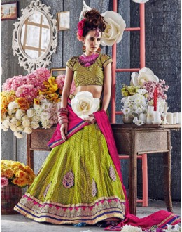 Traditional Green Square Net Lehenga Choli - QUEEN4392-B