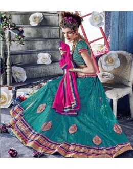 Traditional Sea Green Square Net Lehenga Choli - QUEEN4393-B