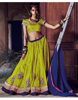 Ethnic Wear Yellow Square Net Lehenga Choli - QUEEN4394-A