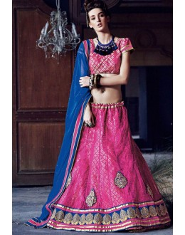 Wedding Wear Pink Square Net Lehenga Choli - QUEEN4395-A