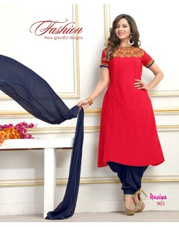 Party Wear Readymade Red Georgette Patiyala Suit  - Rasiya903