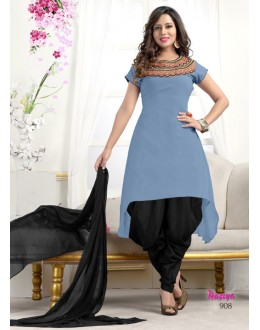 Readymade Grey Georgette Patiyala Suit  - Rasiya908