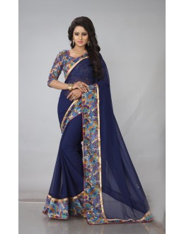 Festival Wear Blue Georgette Saree  - RimzimBlue