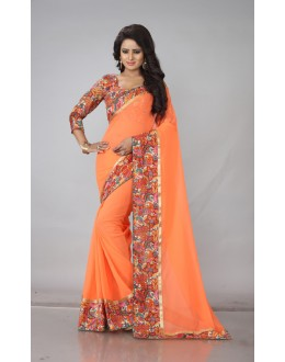 Ethnic Wear Orange Georgette Saree  - RimzimOrange