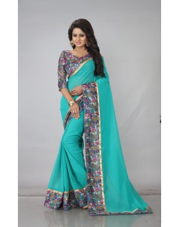 Party Wear Rama Georgette Saree  - RimzimRama