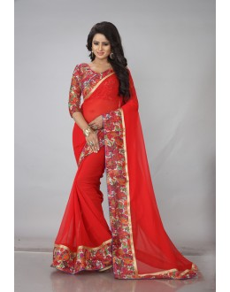 Ethnic Wear Red Georgette Saree  - RimzimRed