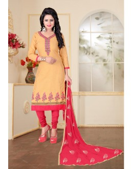 Office Wear Cream Cotton Slub Salwar Suit - Ritima8011