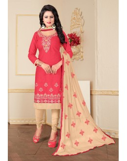 Festival Wear Pink Cotton Slub Salwar Suit - Ritima8012
