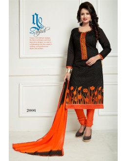 Office Wear Black Chanderi Salwar Suit  - Ritima2006
