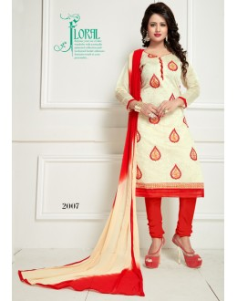 Party Wear Cream Chanderi Salwar Suit  - Ritima2007