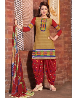 Festival Wear Beige & Red Cotton Patiyala Suit  - BEBE07