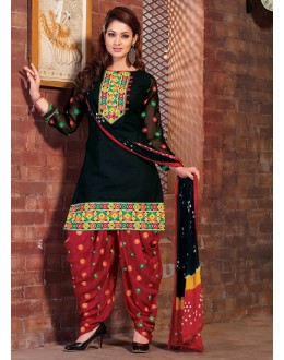 Festival Wear Black & Red Cotton Patiyala Suit  - BEBE09