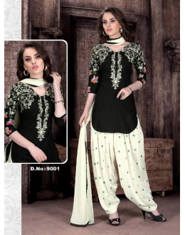 Party Wear Black Cambric Cotton Patiyala Suit  - Rudra9001