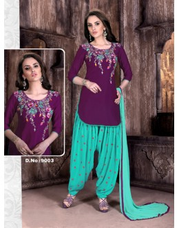 Cambric Cotton Purple Patiyala Suit  - Rudra9003