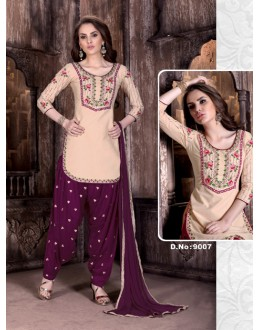 Cambric Cotton Beige Embroidery Patiyala Suit  - Rudra9007