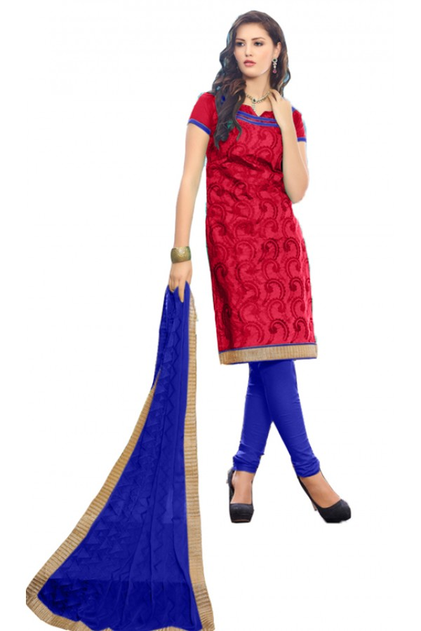 Casual Wear Red & Blue Salwar Suit - SAHELI920
