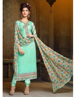 Office Wear Light Green Salwar Suit  - Sahiba4106