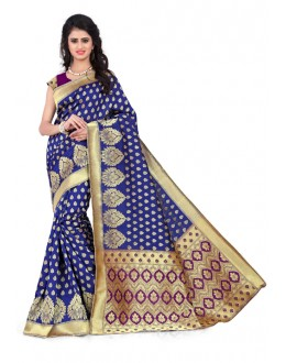 Party Wear Banarasi Silk Saree  - Sanjivani107 BluePurple