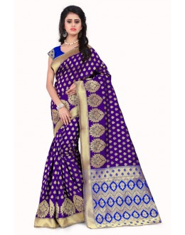 Wedding Wear Banarasi Silk Saree  - Sanjivani107 PurpleBlue