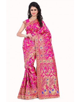 Wedding Wear Banarasi Silk Saree  - Sanjivani110 JallPink