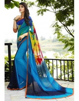 Casual Wear Blue Georgette Saree  - Sanskar16108
