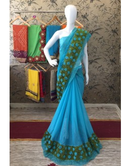 Party Wear Sky Blue Georgette Saree  - ShanviSkyBlue