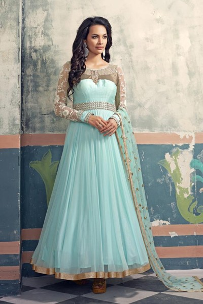 Party Wear Sky Blue Georgette Net Anarkali Suit  - 6005