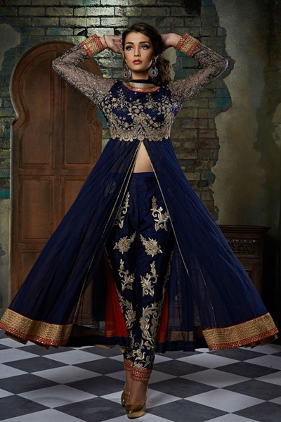 Party Wear Blue Georgette  Anarkali Suit  - 6006