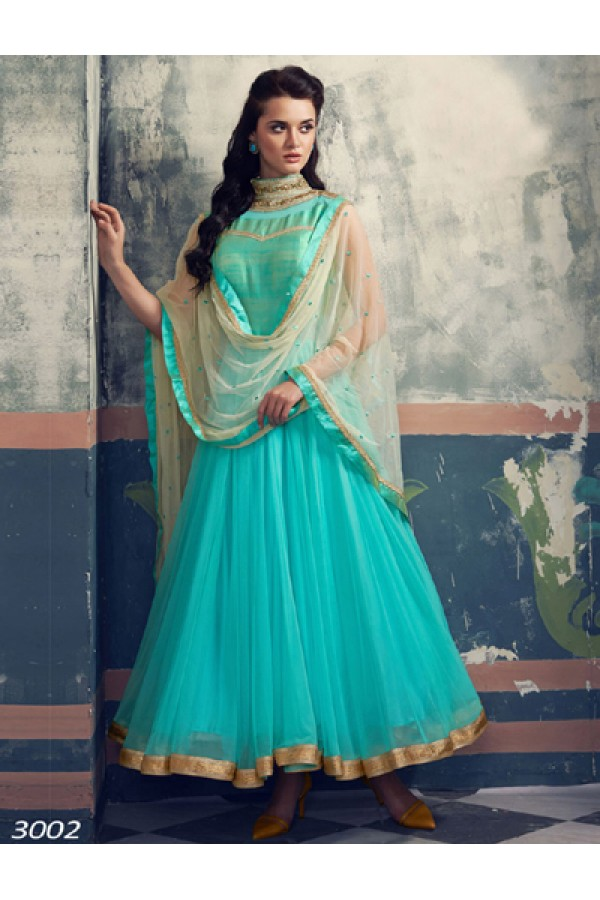 Party Wear Sky Blue Georgette Anarkali Suit  - 6014